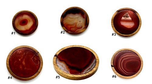 "Agate Coaster - Red/Brown (Brazil, 3-1/2"")"